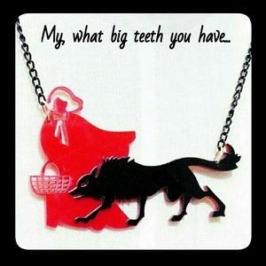 Acrylic Red Riding Hood & Big Bad Wolf Necklace
